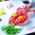 料理メニュー写真国産和牛肉寿司盛り