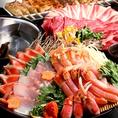 会社宴会、観光などにお勧め!ズワイ蟹海鮮しゃぶと和牛しゃぶ、炭火焼鳥食べ放題プラン