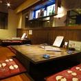 宴会向け掘りごたつ席。横に座布団を置けば最大24名までご利用いただけます。!大切な方と当店自慢の会席料理と宮城県一の日本酒をお楽しみ下さいませ。