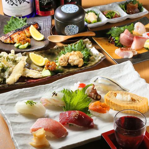 北新地駅徒歩1分☆くつろげる空間でお寿司をご提供♪クーポンで1ドリンクサービス