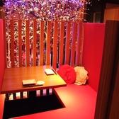 【掘りごたつ:2名様までご利用可能】ウメ子の家のシンボルの梅の木が見えるソファーカップルシート。2人の雰囲気を包んでくれる素敵なお席となっております。プライベート空間たっぷりのお席でお食事をお愉しみ下さい。逸品料理、ドリンク、コースなど種類豊富にご用意しておりますので是非お越し下さい!