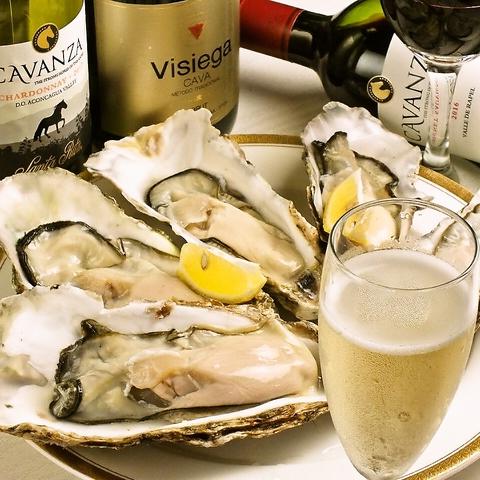 厳選仕入れの生牡蠣・海鮮は鮮度抜群!ワインも一緒に/焼酎/日本酒も豊富♪