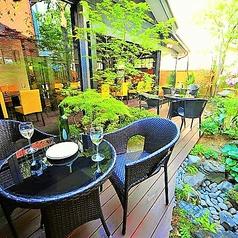 【新潟駅徒歩3分■大人の隠れ家的居酒屋「ICHIE」の趣向を凝らしたこだわりのお席ご紹介】夏季限定のお庭のテラス席。たくさんの緑が涼しげなテラス席は開放的で伸び伸びとお食事をご堪能頂けます。夏の夜風を感じながら寛ぎのご宴会をお楽しみ下さい。女子会にも大人気のお席。