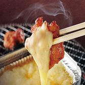 ピリ辛の国産鶏ももを焼いて、とろーりチーズにつければ、まろやか旨辛に大変身!女性にも人気のチーズメニューです