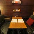 落ち着いた雰囲気のソファー個室。接待、食事会、デート、プライベートの飲み会にも最適!