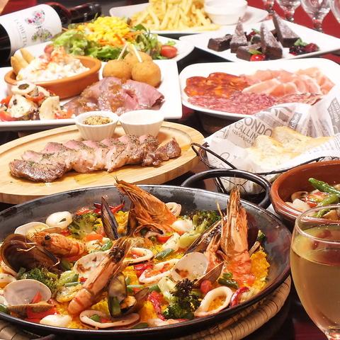 出来立て熱々パエリアと本格スペイン料理をお楽しみ下さい。ワインも多数ご用意。