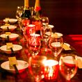 【中規模の集まり】店内中央にある大人数様むけのお席です。18名様までのテーブルタイプの個室となります。人数は最大18名様までご相談頂けます!中型宴会や、会社などのご宴会にも最適です♪