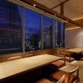 窓際夜景席 通常8人席で繋げて18人席