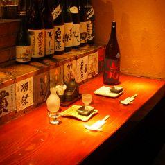 カウンターはお一人の方やお二人のときに◎オシャレ呑み、ちょい飲みに最適です♪~恵比寿 貸切 宴会 隠れ家 海鮮居酒屋 じょう はなれ 日本酒 焼き鳥~