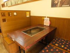 ボックスになってます。テーブル席4名掛け×3