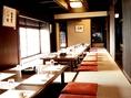 21名様以上で会席、コース料理ご注文のお客様貸切半個室としてご利用いただけます。※写真は貸切時の模様