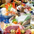 市場直送の鮮魚を活きたままお造り致します。季節の鮮魚をお楽しみ下さい。広島名物牡蠣はもちろん!刺身・海鮮料理・鍋・更にはお肉料理まで、贅沢食材を使用した絶品料理の数々。大人数での貸切や少人数での個室利用と様々なシチュエーションのご対応◎