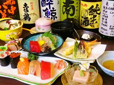 新鮮な魚を使った料理の数々。お寿司以外にも煮付け、お造り、焼物等メニューが豊富。