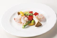 大海老と季節野菜の塩味炒め