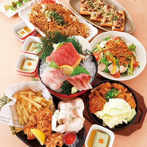 【和(なごみ)の宴】2H飲放付+刺身3種盛&鶏の旨辛焼き&焼肉デニッシュピザなど全8品3500円