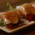 料理メニュー写真トマトと生ハムのクリームチーズカルパッチョ♪