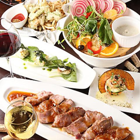 【月・土曜日限定】バランス重視!名物「塊肉」付き〜豚バルYコース 通常4980円⇒4500円