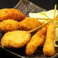 料理メニュー写真串揚盛合せ(えび・れんこん・豚もも・じゃが芋・うずら)