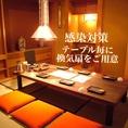 【感染対策】テーブル毎に1台ずつ換気扇をご用意!また、個室は定期的に空気の入れ替えを行なっております。安心してご利用いただける空間をご提供致します。
