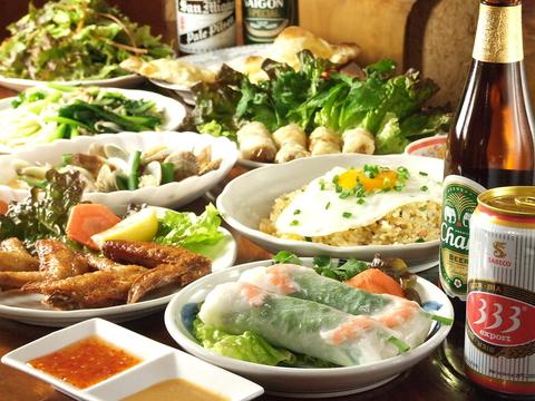 本格ベトナム料理を中心にアジア諸国の料理が楽しめるチャオサイゴンです。