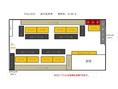 【着席50名】貸切の基本的な座席表です。着席は50名ほどで半立食でも使いやすい座席の配置になっています!半立食であれば70名~80名可!