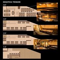 1階から4階まで、個室からフロア貸切まで最大40名迄◎