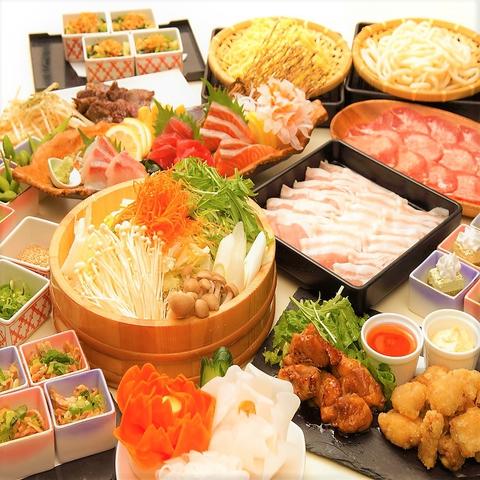 ◆2h飲放+料理12品◆【歓送迎会しゃぶしゃぶコース】特選豚のしゃぶしゃぶやあんこう等5000円⇒