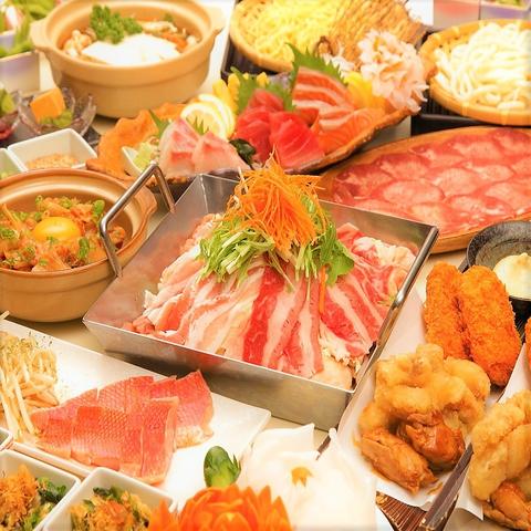 ◆2h飲放+料理12品◆【歓送迎会肉鍋コース】牛・豚・鶏の豪華肉鍋やお刺身3種盛合せ等6000円⇒