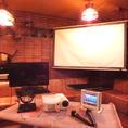 スクリーン&プロジェクター&マイク&カラオケ&音響完備 貸切のお客様には基本的に無料でお貸ししております。立食、着席幅広くご利用いただけます。