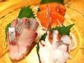 料理メニュー写真刺身3種盛り合わせ (内容は変わる場合がございます)