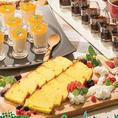 ケーキやフルーツ等のデザートも食べ放題♪一口サイズなので色々な味をお楽しみいただけます。写真は一例です
