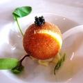 料理メニュー写真宮崎椎葉平家キャビアと仏産フォアグラ、トリュフのライスボールコロッケ