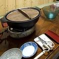 鍋料理は立派な鉄のお鍋でご提供致します。みんなで囲めば温まりますよ♪