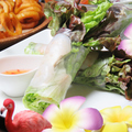 料理メニュー写真PELANGI生春巻き(2本)/生サーモンとアボカドの生春巻き(2本)/トマトとクリームチーズの生春巻き(2本)