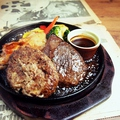 料理メニュー写真ビーフ・ハンバーグ・チキン 3コンボ450g ステーキ