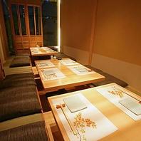 虎ノ門駅徒歩3分、完全個室完備、掘りごたつ席あり。