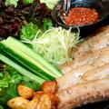 料理メニュー写真当店自慢の豚バラ肉のサムギョプサル<手作り韓国風味噌で!>