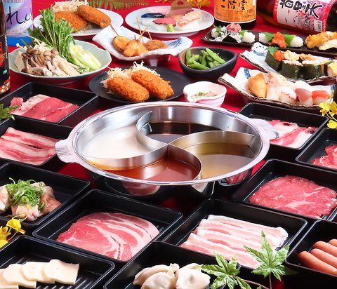 【人気!全70品】 豚&鶏&牛肉さらにお寿司も食べ放題コース2599円(税込価格2858円)