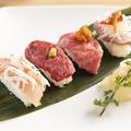 料理メニュー写真肉寿司4種盛り
