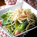 料理メニュー写真パリパリじゃが芋とほうれん草のサラダ