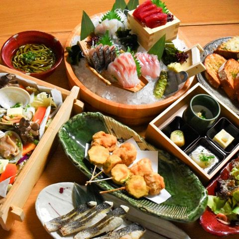 一番おすすめのコース!!みぜんの売りの地魚・地無農薬野菜をたっぷり使ってます!!静岡の自然の恵みをありのままにお届けします♪
