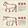 【こだわりの馬肉について】馬の品種は大きく分けて「重種馬」「軽種馬」の二つに分けられます。「重種馬」はずっしりと肉付き旨味が乗りやすく、「軽種馬」はモデル体型で赤身の美味しさを追求できます。肉寿司では品種に合った調理方法を研究しどこにもまねできない馬肉メニューを生み出しました。国産青森馬肉もご用意◎