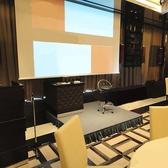スクリーン、プロジェクター、マイク等音響設備も完備しております。
