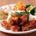 料理メニュー写真オレンジチキンDish(ライス付き&お惣菜4品付き)