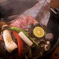 料理メニュー写真特選牛ロース朴葉みそ焼き