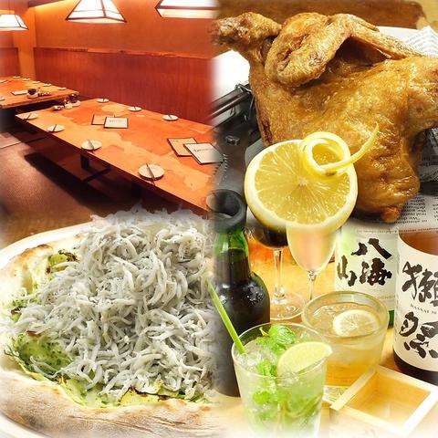 小田原港直送の新鮮なお刺身と超BIGな半身鶏のから揚げはDEN'S必食の逸品!!