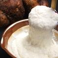 利休焼・お好み焼には、山芋の中から抜群の味と栄養を誇る「つくね芋」を厳選して使用。緻密な肉質と考えられない程の粘り気、もっちりとして濃厚な味は他に類を見ません♪「外はカリッと!中はふわとろ」の食感で身体に優しいお好み焼きなんです!