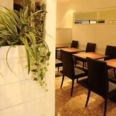 白を基調としたシンプルでオシャレな店内にある観葉植物が、癒しの空間を演出してくれます。ランチタイムにおすすめのテーブル席です。
