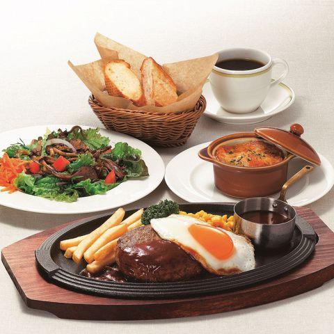 【平日限定】スペシャルディナーセット 1780円(税抜)〜 ※写真のメイン料理はハンバーグ