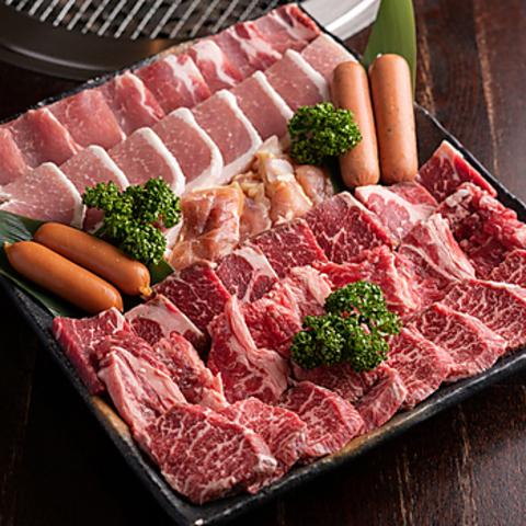 【100分食べ飲み放題】奈良ブランドやまとポーク付き ★低温熟成大皿盛りスペシャル焼肉コース